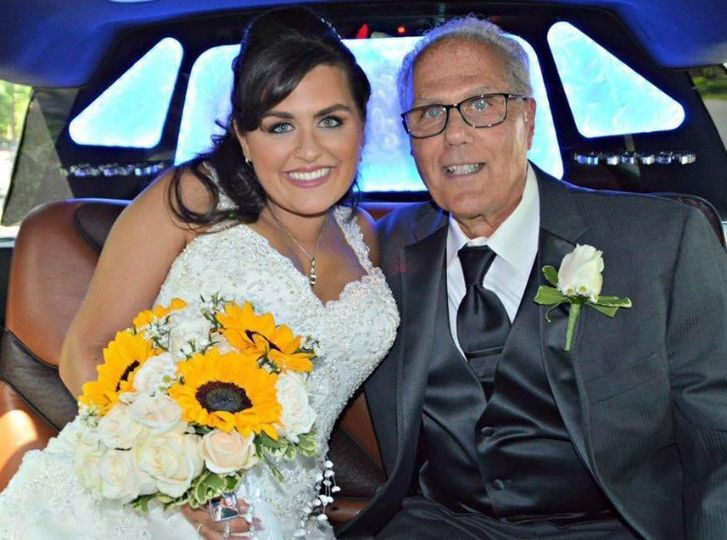Beautiful bride and dad