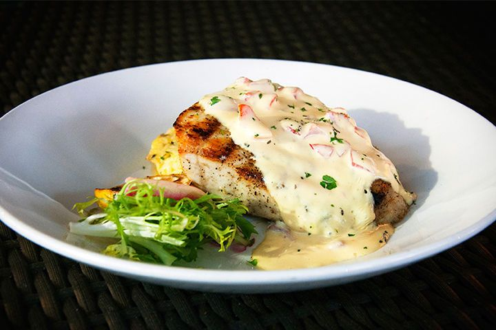 Local fresh catch (pictured: black grouper with a red pepper hollandaise)