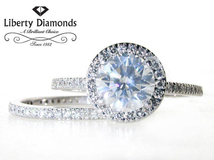 Tmx 1343260759300 HaloFrenchPaveweddingset Irvine wedding jewelry