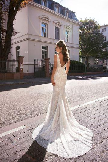 V-back gown