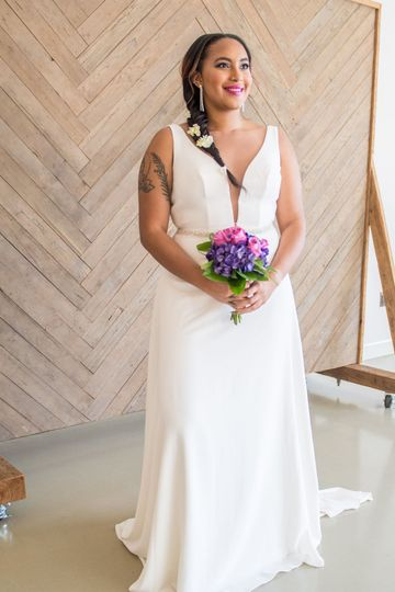 A-line gown with plunge neckline