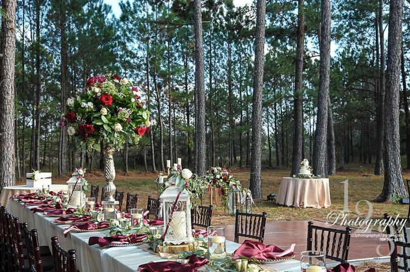 Long table outdoors