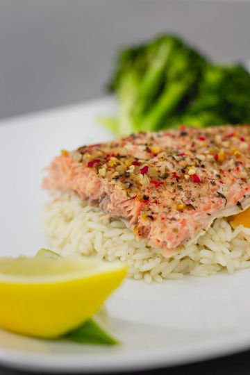 Salmon with pilaf