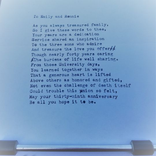 """Poem - """"To Emily and Ronnie"""""""