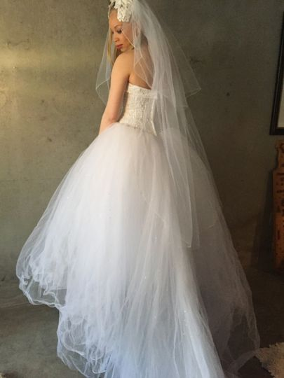 Full view of Crissy gown, size 6. Save hundreds if not thousands by renting your wedding dress....
