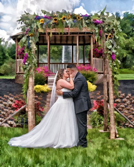 Painted Photo of 1st Kiss at Orchard Grove Farms, Frankfort, NY 13340