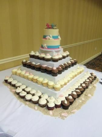 white chocolate sea shell beach cake with cupcakes