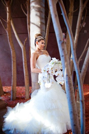 Bride posing in the trees - Peardon Carrillo Photography