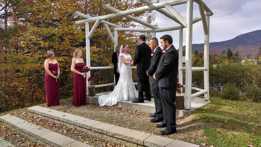 Ceremony held at the arbour at waterville valley nh. Music provided by music road dj service for the...