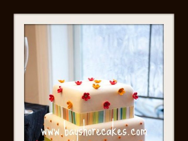 Tmx 1296609778967 3tierstrippedribbonflowersdotsweddingcake Sandy wedding cake
