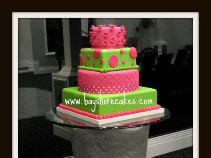 Tmx 1296609788671 Hotpinklimegreenquiltingpolkadotsandflowers Sandy wedding cake
