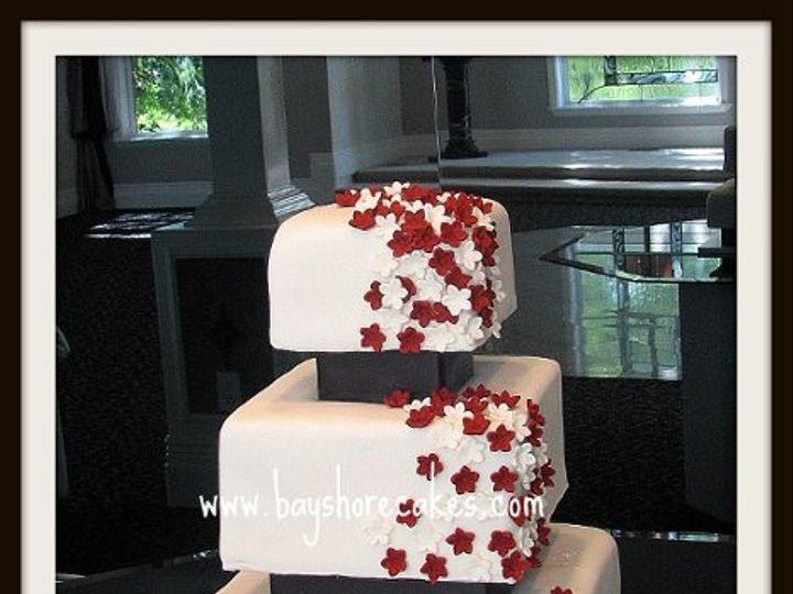 Tmx 1296609806749 Redandwhiteflowersspacedweddingcaek Sandy wedding cake