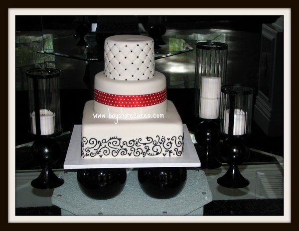 Tmx 1296609812983 Weddingcakequiltingpolkadotribbonscrolls Sandy wedding cake