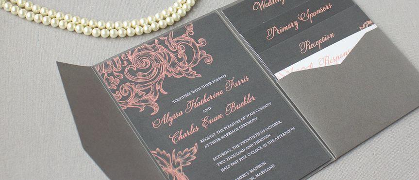 ... Wedding Invitations; 800x800 1430946577156 Gray Coral Pocketfold  Invitations ...