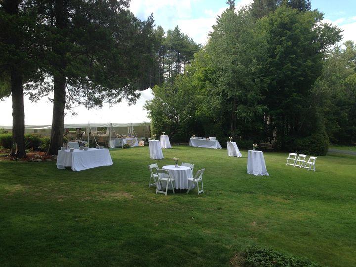 Tmx 1510525451770 Cocktail Hour Tables On Lawn Sunapee wedding venue