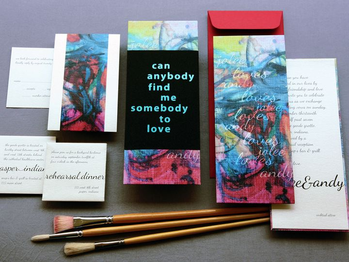 Tmx 1444748592831 Somebodytolovequeencanvasartweddinginvitations Jasper, Indiana wedding invitation