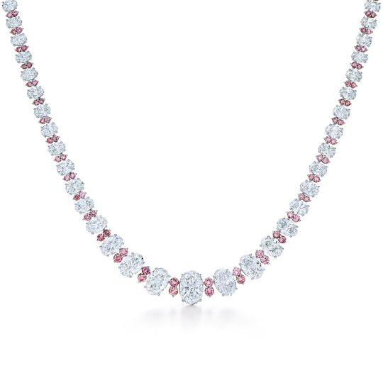 Kwiat 'Between Us Diamond Necklace' white and pink diamond in platinum