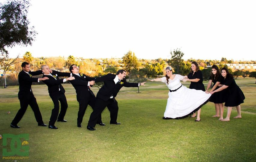 Bridal Party at Admiral Baker having some fun with their photographer.