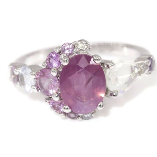 Blush pink oval sapphire ring
