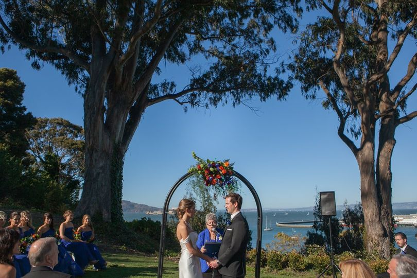 Saying their vows on a lawn overlooking the San Francisco Bay, under blue skies and a warm September...