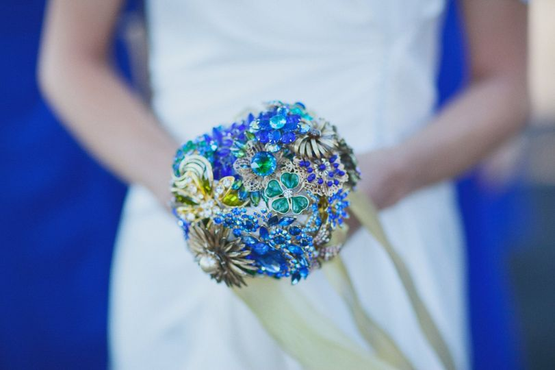 A beautiful bouquet consisting of individual crystal brooches, handmade by the mother of the bride