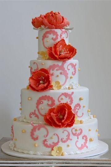 Peony wedding cake. Guava, pink and white