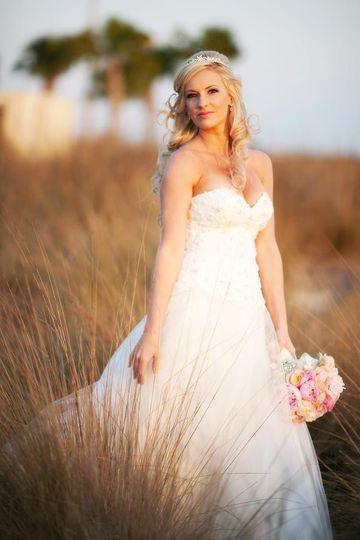 Romantic sunset wedding at Duran Golf Club, Viera, Florida.  Pinks, blushes, white and aqua color...
