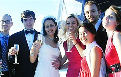 Cheers to the happy couple.  Wedding was performed in Glorietta Bay