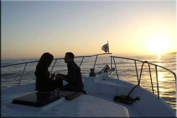 This was taken on a romantic charters as he was popping the question