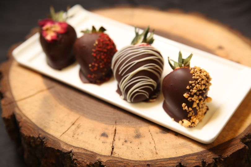 Champagne ganache-dipped chocolate strawberries.