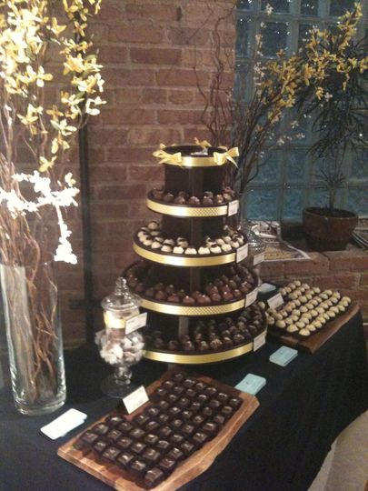 Classic fall sweets table, with assorted truffles, fleur de sel caramels, and soft honey caramels.