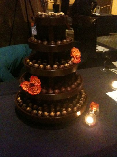 Truffle tower with roses