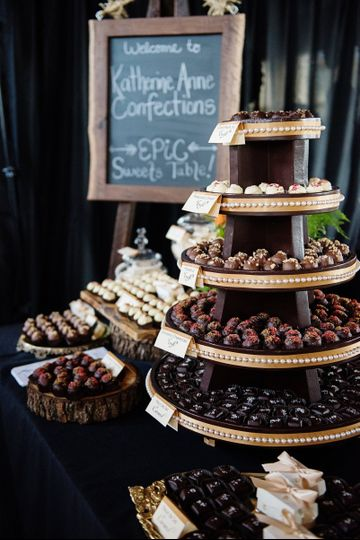 Full on sweets table featuring 800 truffles, 200 fleur de sel caramels, 100 marshmallows, and 100...