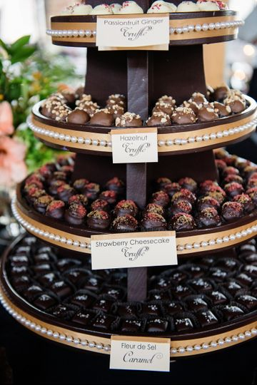 Our lovely truffle tower, all dressed up and ready to party!