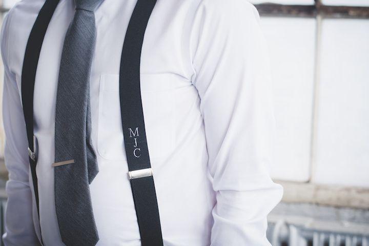 Black monogram suspenders