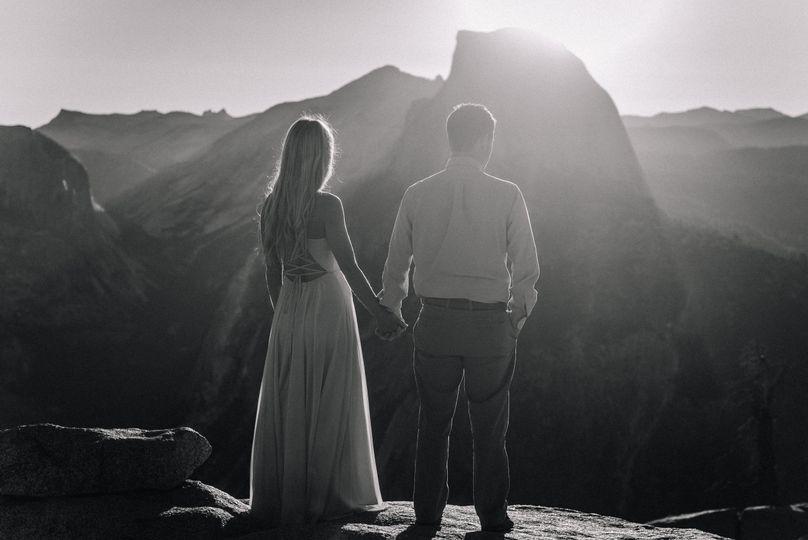 Engaged couple at Yosemite