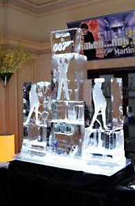 This was a themed birthday party with a charlie's angel ice sculpture.
