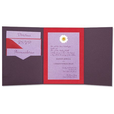 The 5 x 7 Gate Folio Pocket Weddings Invitation come in over 90 different colors. These exclusive...
