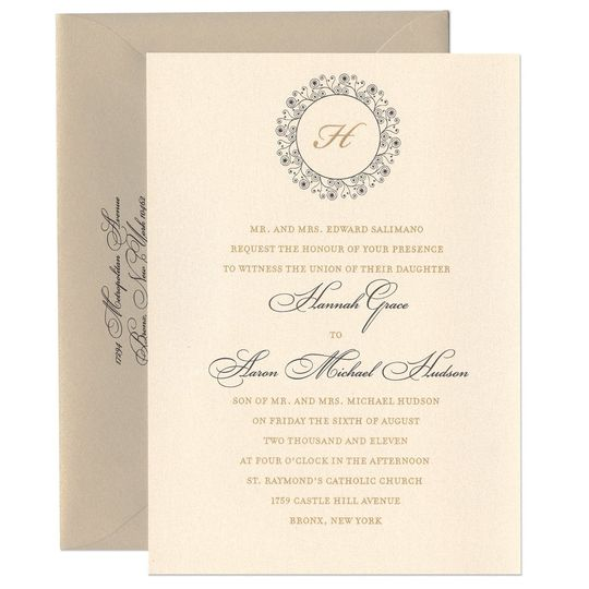 An elegant emblem holds your initials on our unique and elegant Hannah Wedding Invitations. Few...