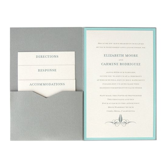 A streamlined and sophisticated wedding invitation option, The 6 x 9 Single Folio Pocket Wedding...