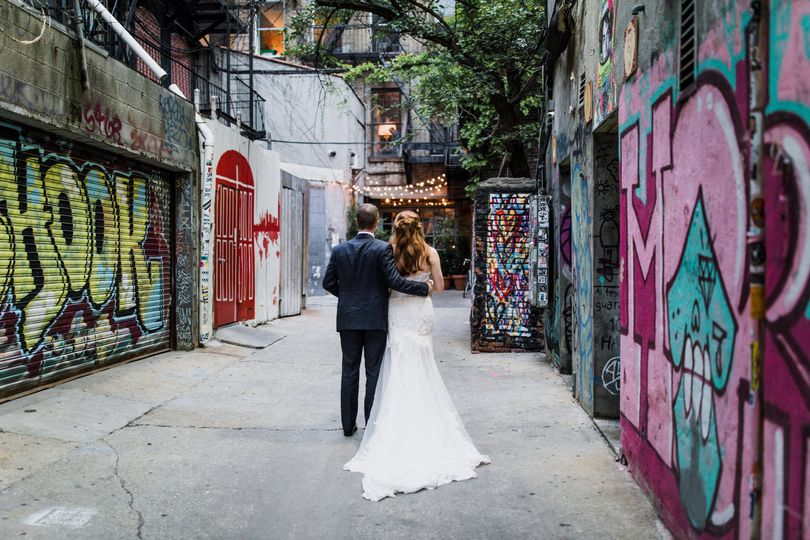Couple strolling down the alley