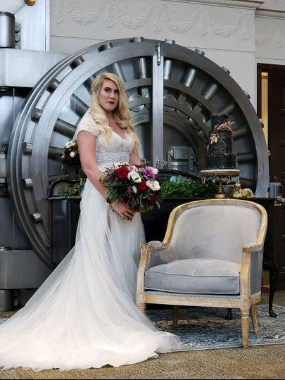 Bride beside the vault