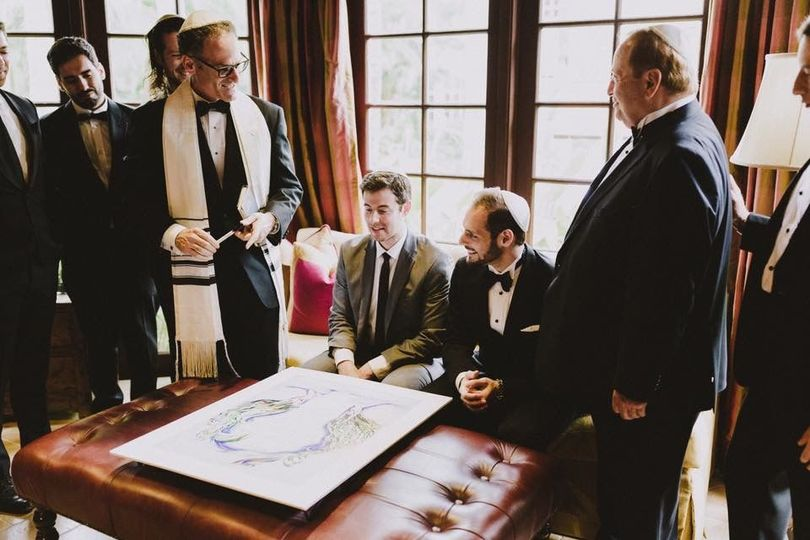 Explaining the ketubah to groom's party