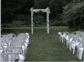 We did the bows for the chairs and we decorated the arbor.