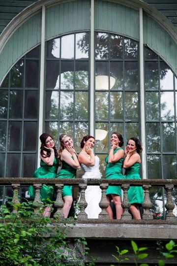 Bridal party at window