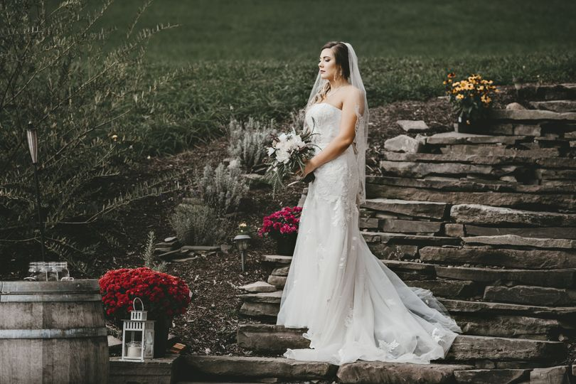 Bride on the stone steps