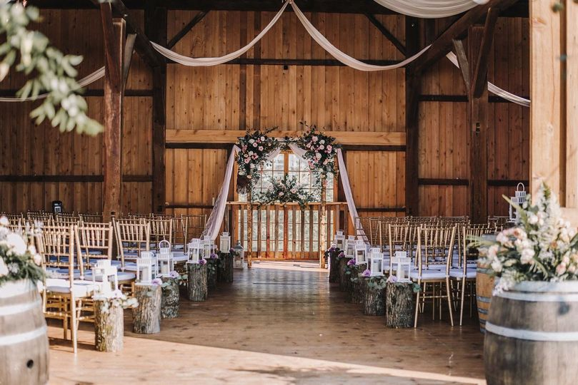 Barn ceremony setup