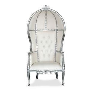 Silver Canopy Throne Chair