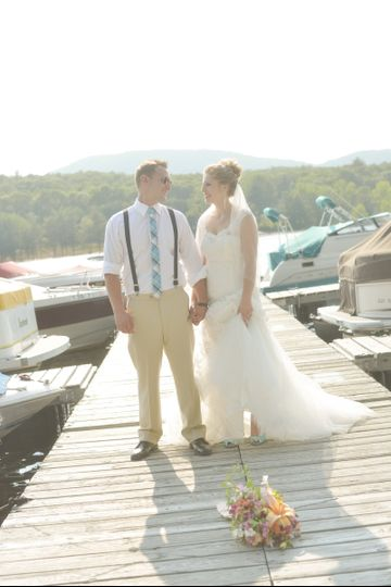 bride groom at the dock