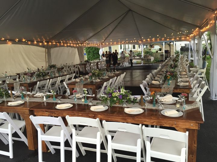 farm table tent set up